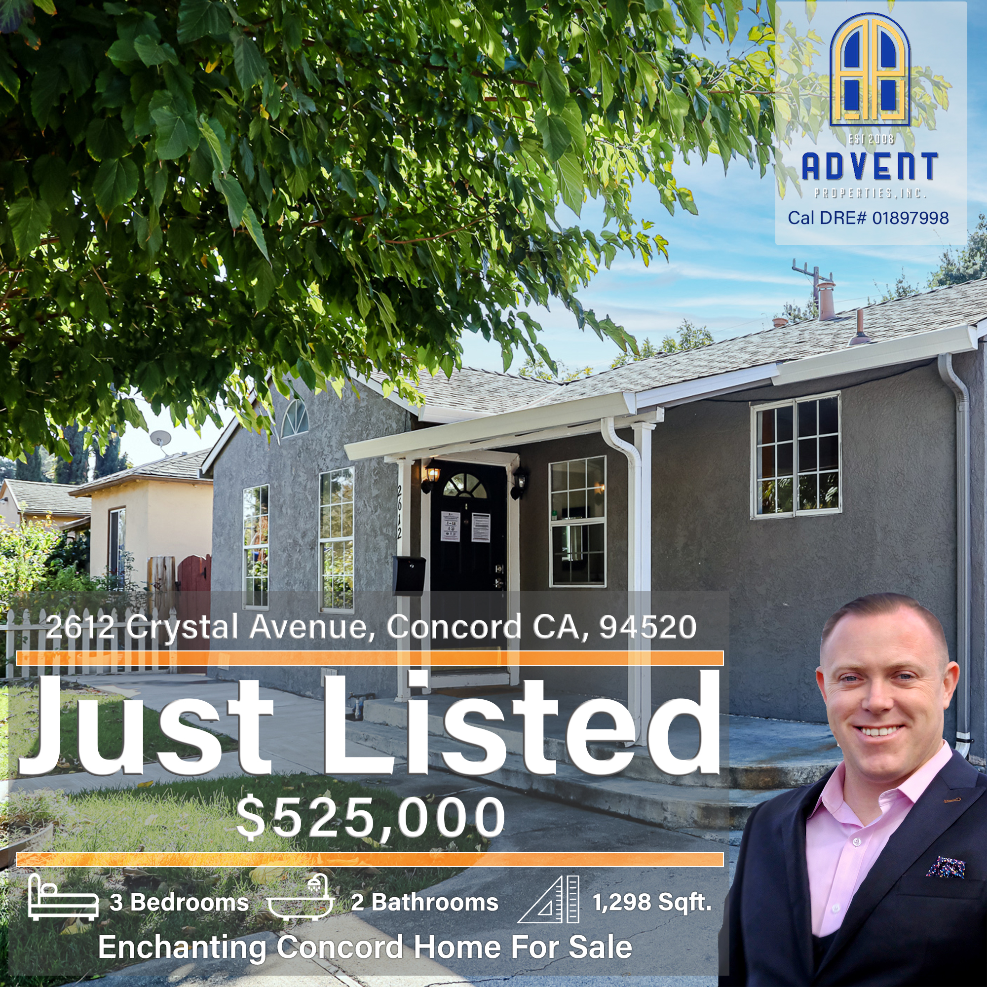 Just Listed by Darryl Glass: 2612 Crystal Avenue, Concord, CA 94520