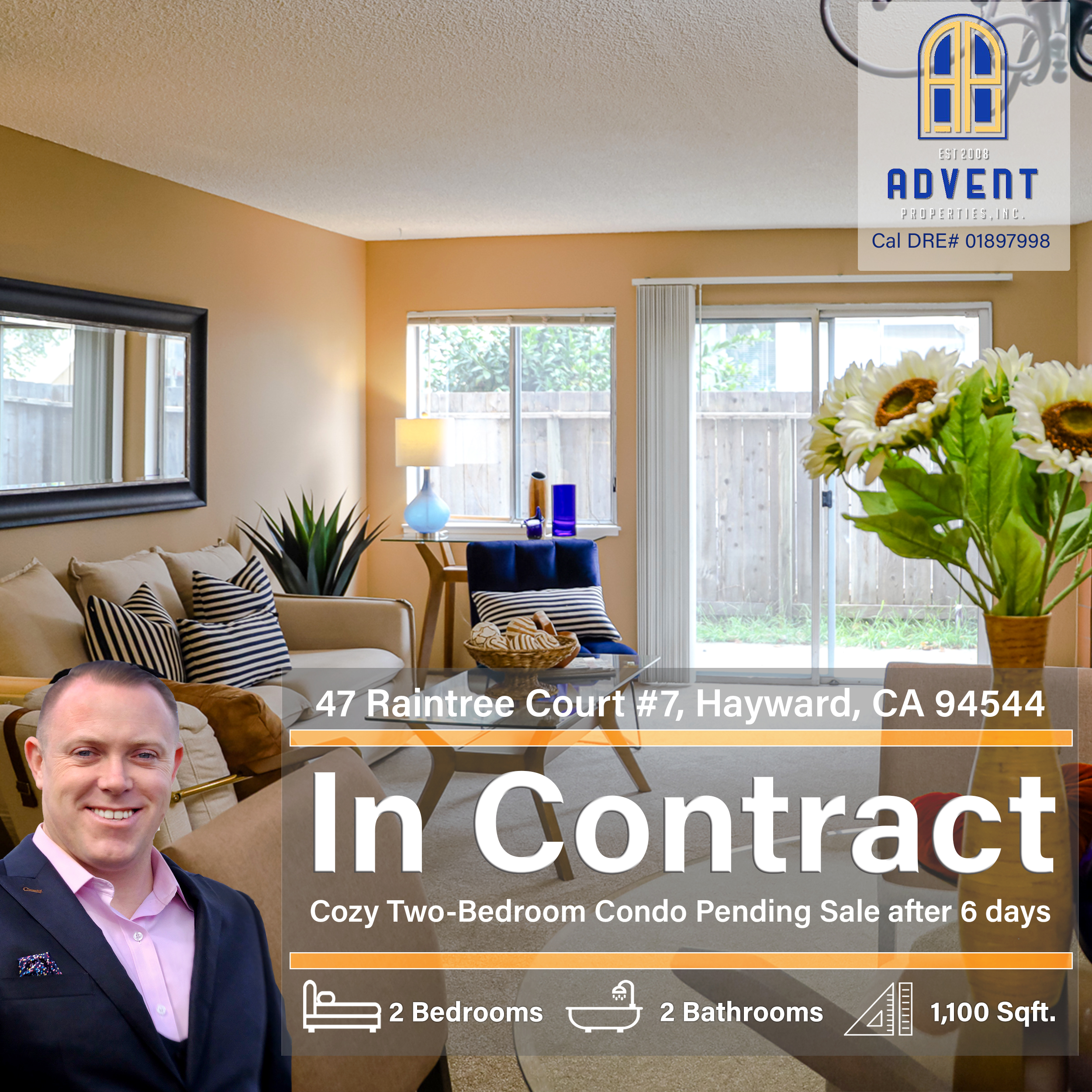 Pending Sale with Darryl Glass: 47 Raintree Court #7, Hayward, CA 94544